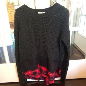 Madewell sweater with plaid size medium BNWOT